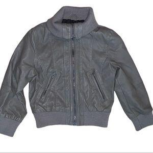 Grey Faux Leather Bomber Jacket Boys 5/6